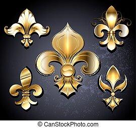 Set of Golden Fleur de Lis - Set of gold, jewelry Fleur de...