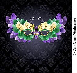 Mardi Gras mask of feathers - Mardi Gras mask of green,...