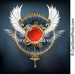 red banner with white wings - Red round banner with white...