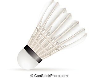 Badminton shuttlecock on a white background.