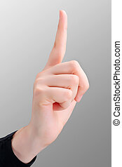 Pointing finger up isolated - Female pointing index finger...