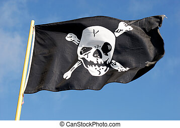 Pirate Flag II - Jolly Roger - Flag of a Pirate skull and...