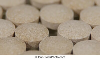 Cloudy pills for immunity, health, rotation, close up,...