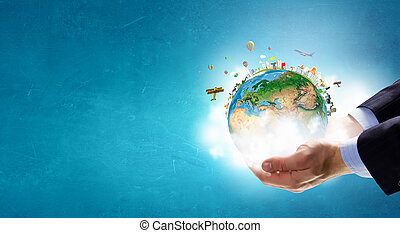 mundo, inteiro, mãos