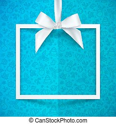 White paper gift box frame with silky bow and ribbon on blue...