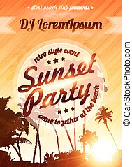 Orange sunset sky with palms silhouettes beach party poster...