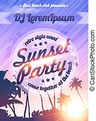 Violet sunset sky with palms silhouettes beach party poster...