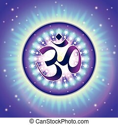 Om symbol - colorful, detailed illustration of Vedic Om...