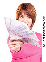 happy woman with money - picture of happy woman with money...