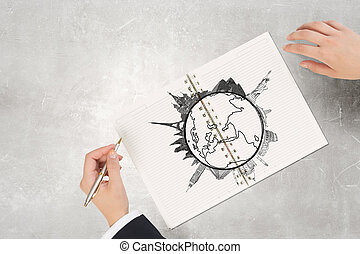 Around the world traveling - Businessman hands drawing with...