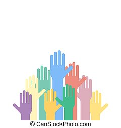 Colored hands raised up. Vector background