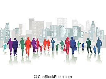 Leute vor der Stadt.eps - People in the city center