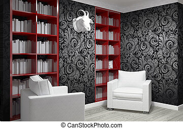 Studying room with two armchairs and bookshelfs