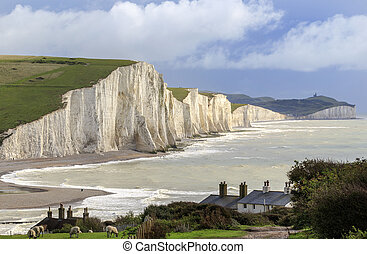 Seven Sisters Cliffs in the south downs sussex UK