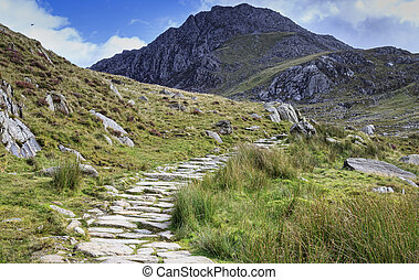 Snowdonia national park - path in snowdonia national park,...