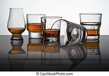 Play of light and colours in glasses for whisky