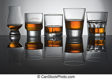 Play of light and colours in glasses from whisky
