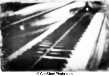 Blurred Grunge piano musical background and added paper...