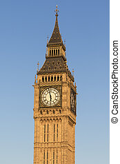 Big Ben with a blue sky background