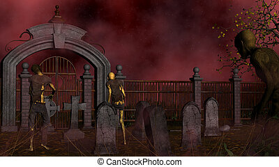 Walking dead in spooky foggy cemetery - 3D render of zombies...