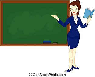 Cartoon female teacher standing - vector illustration of...