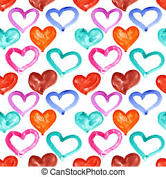 Multicolored watercolor hearts - seamless pattern