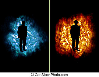 Cold and hot business man - Business man on fire and ice...