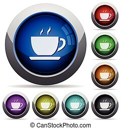 Cofee button set - Set of round glossy cofee buttons...