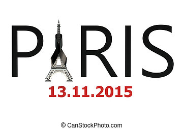 Paris terror attacks concept isolated on white background