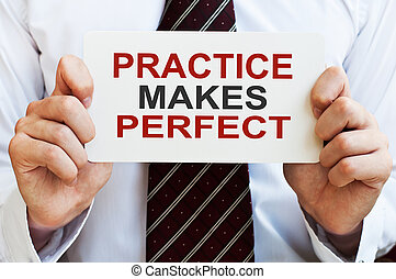 Practice Makes Perfect. Card in male hands