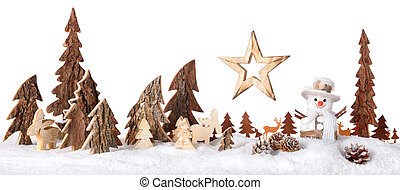 Wooden decoration as a cute winter scene - Wooden decoration...