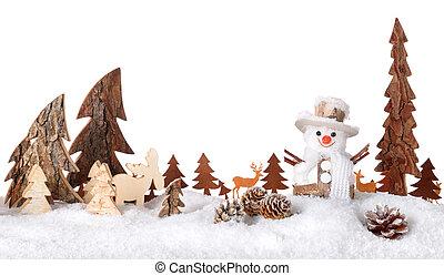 木制, 2UTE, 裝飾, 冬天, 場景