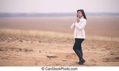 woman girl cold It is in full growth nature Russia autumn...