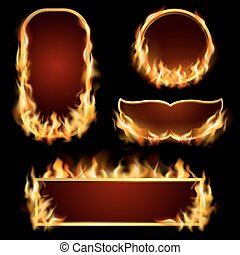 Fire Frames Set - Burning fire realistic frames set on black...