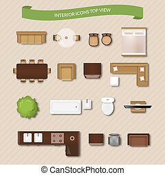 Interior Icons Top View - Interior icons top view with sofa...