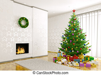 Interior of living room with christmas tree 3d render