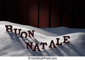 Card WithSnow, Buon Natale Means Merry Christmas - Red...