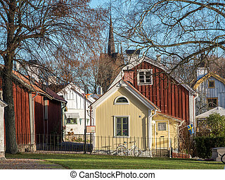 Idyllic small town in Sweden - A sunny autumn day in...