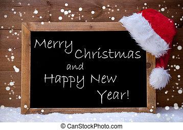 Copos de nieve, tarjeta, año, alegre, nuevo, pizarra,...
