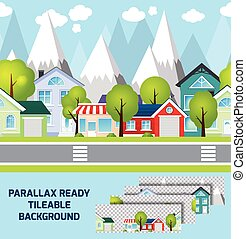 Provincial town landscape parallax ready background -...