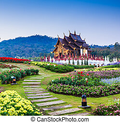 Temple Wat Ho kham luang traditional thai architecture in the Lanna style in Chiang Mai, Thailand.