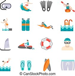 Swimming Icons Set - Swimming and water sports flat icons...