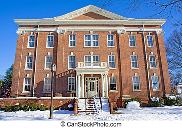 Building on a college campus in winter - Thomas Branch Hall...