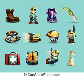 Speleology 3d icons set - Digital cave exploration surveying...