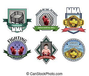 Mma fighting emblems labels set - Martial fighting art mma...