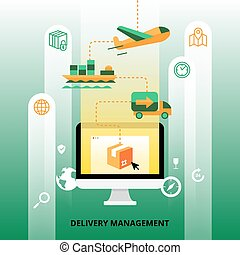 Delivery Management Illustration - Delivery management with...