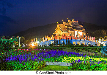 Temple Wat Ho kham luang traditional thai architecture in...