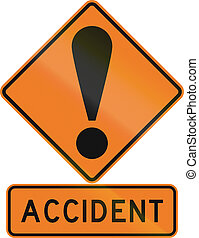 Road sign assembly in New Zealand - Accident