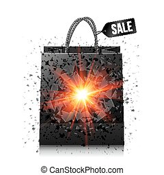 Black sale shopping bag with red explosion