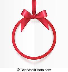 Bright holiday red round frame with bow and silky ribbon